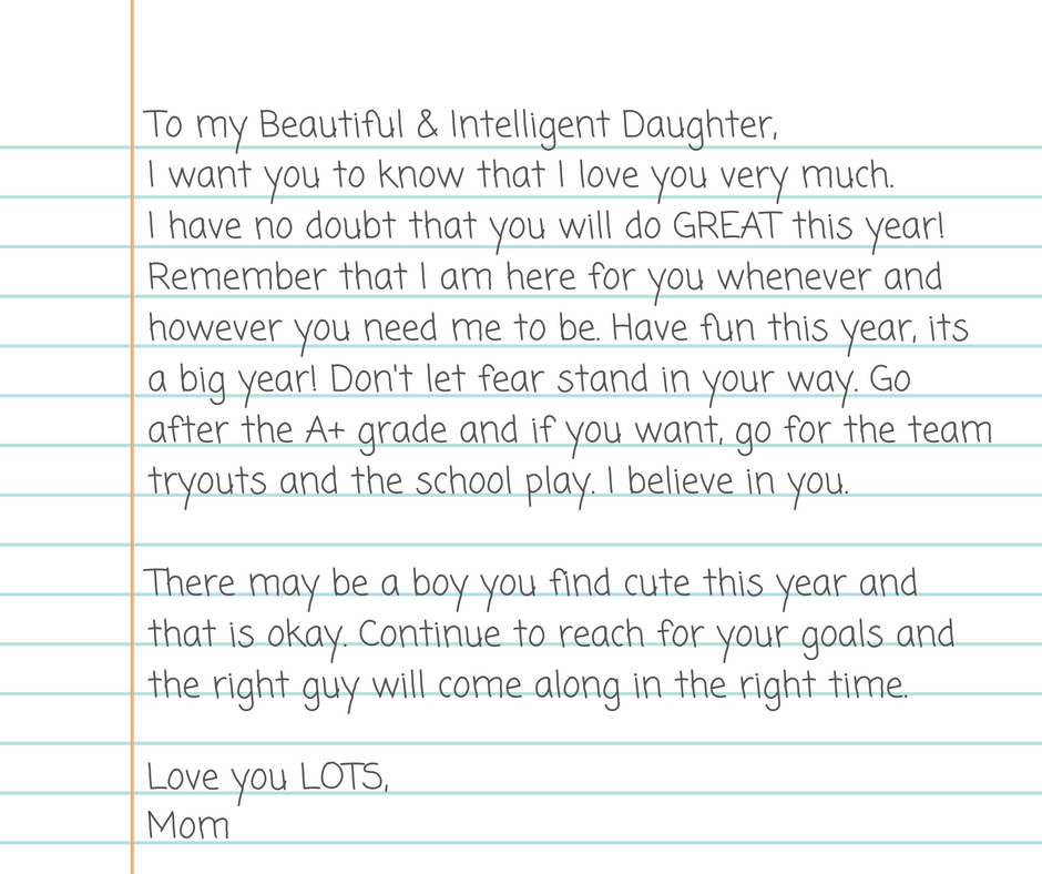 Back to school letter from mom to daughter